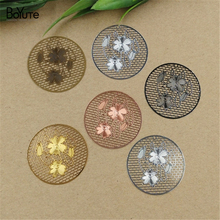 BoYuTe 20Pcs 36MM Brass Filigree Flower Pendant 6 Colors Plated Etched Sheet Diy Pendant Charms for Necklace Jewelry Making