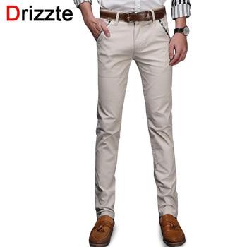 Drizzte marca homens jeans stretch de algodão macio calças chino casuais calças vestido tamanho 33 34 36 38 khaki preto bege azul