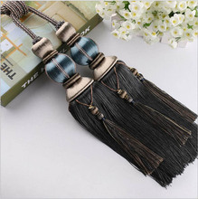 One pair grey Home Decoration Window curtain clips accessories Hanging Belt Ball curtain strap Curtain tassel tieback Buckle(China)