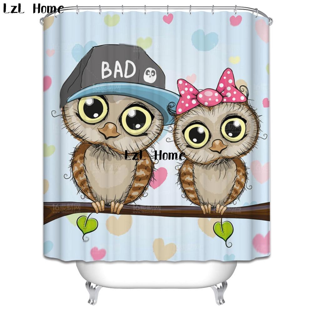 Animal Birds Fabric Shower Curtain set Cartoon Owl Bathroom Curtain With Hooks