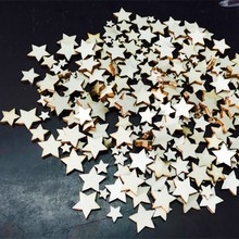 100 pcs Lovely Rustic Wooden Five-Pointed Star Wood Decorative Pieces Wedding Party Table Scatter Decoration Crafts