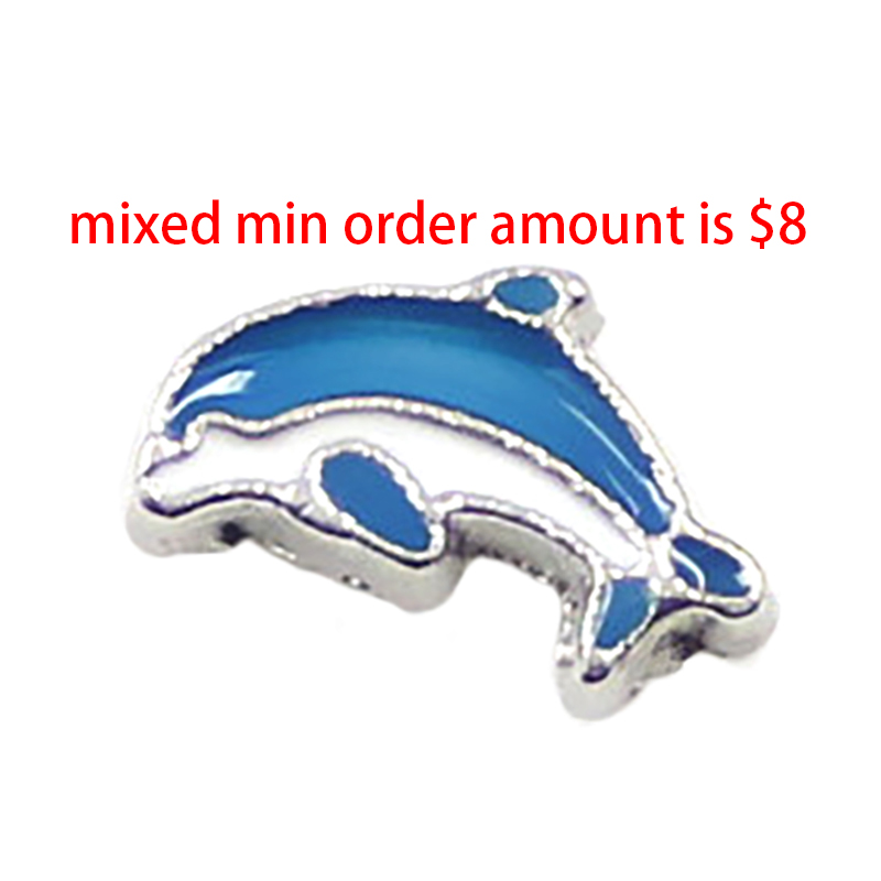 Hot Sale jewelry 10PCS whale fish floating locket charms glass living lockets,S-058