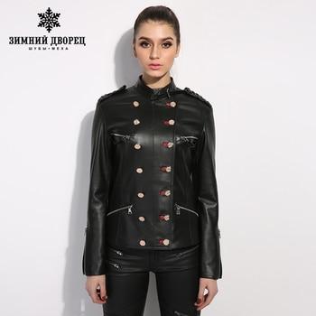 ЗИМНИЙ ДВОРЕЦ короткий параграф с длинным рукавом кожаной куртки женщин тонкий тонкий черный овчины кожаная куртка мотоцикла