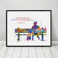 Forrest Gump Art Print Painting Inspirational Forrest Gump Quotes Kids Room Wall Art Poster Watercolor Art Decor No Frame AP142(China)