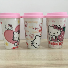 350ml Capacity Pink Hello Kitty Ceramic Coffee Water Mug Cup with Silicone Lid