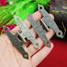 65*34MM 40pcs  antique brass wooden box hinges four hole bronze for jewelry box hinge hardware accessories wholesale