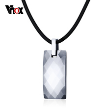 Vnox Healthy Hematite Necklace Men Jewelry Rock Punk Tungsten Carbide Necklaces & Pendants