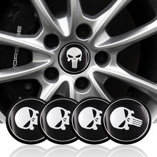 Cool Punisher Car Steering tire Wheel Center car sticker Hub Cap Emblem Badge Decals Symbol For Honda VW Audi BMW Nissan Ford(China)