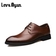 Top Quality Brand Genuine Leather Men Dress Business Shoes. MEN Low casual flats Wedding Shoes. Men leather Oxford shoes CC-107