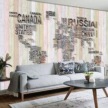 beibehangCustom large 3d stereoscopic modern european English map wood striped theme fresco bedroom background wallpaper(China)