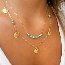 DoreenBeads Acrylic Boho Chic Multilayer Layered Necklace Link Cable Chain gold color Green Gem Stone 48cm long,1 PC