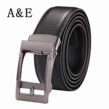 Alice & Elmer Men's Genuine Leather Ratchet Belt With Automatic Buckle Belts For Man Silver(China)