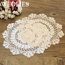 Round Retro Crochet Lace Doilies Floral Placemat Coasters Home Coffee Shop Table Design Decorative Crafts Home Textiles 30CM(China)