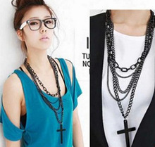 Women Lady Fashion Jewelry Classic Multilayer Long Chain Black Big Cross Pendant Necklace Sweater Chain Jewelry