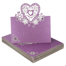 UESH-50 x Place Cards Name Card-shaped Heart Wedding Cards for Purple Wedding(China)