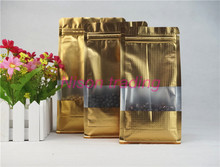 10pcs Matte gold stand up aluminium foil ziplock pouches with frosted window Embossed plastic bag zipper reclosalbe Beans sachet(China)