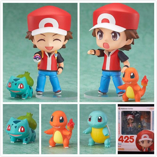 Pokemon PVC Figure Toy Nendoroid Ash Ketchum Zenigame Charmander Bulbasaur Action Figure Pokemon Red Anime Collectible Model Toy<br><br>Aliexpress