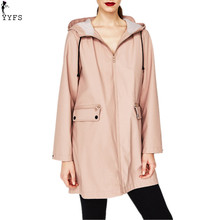 2017 Autumn Winter Hooded Zipper Trench Waterproof Loose Oversized Casual Midi Length Femme Dust Coats Outwear Fashion New(China)