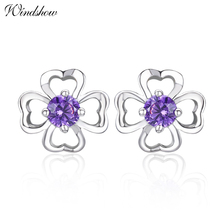 925 Sterling Silver Heart Cut Clover Purple CZ Stud Earrings For Women Girls Children Girls Kids Jewelry Orecchini Aros Aretes(China)