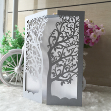 12pcs/lot 13th bar mitzvah congratulations card invitation blessing card party decoration paper craft laser cut tree QJ-26