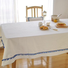 Pure White Color Tablecloth Cotton Linen Wedding Party Dinner Coffee Table Cloth