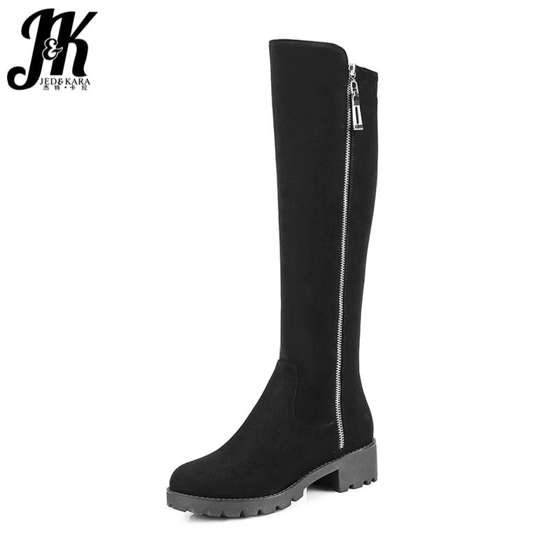 JK Knight Style Women Knee High Boots Zipper Design Concise Ladies Winter Boots Chunky Heels Platform Short Plush Footwear<br>