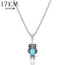 17KM New Fashion Vintage Bohemia Ethnic Style Bohemia Owl Pendants Necklace Blue Stone Statement Party Necklace jewelry