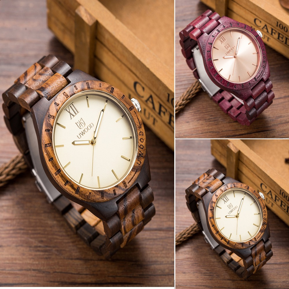 Hot Sale Quartz Wooden Watch Wood Mens Wristwatches with Wooden Band Japan Move 2035 Quartz Wood Watches for Men as Gifts UW101<br>