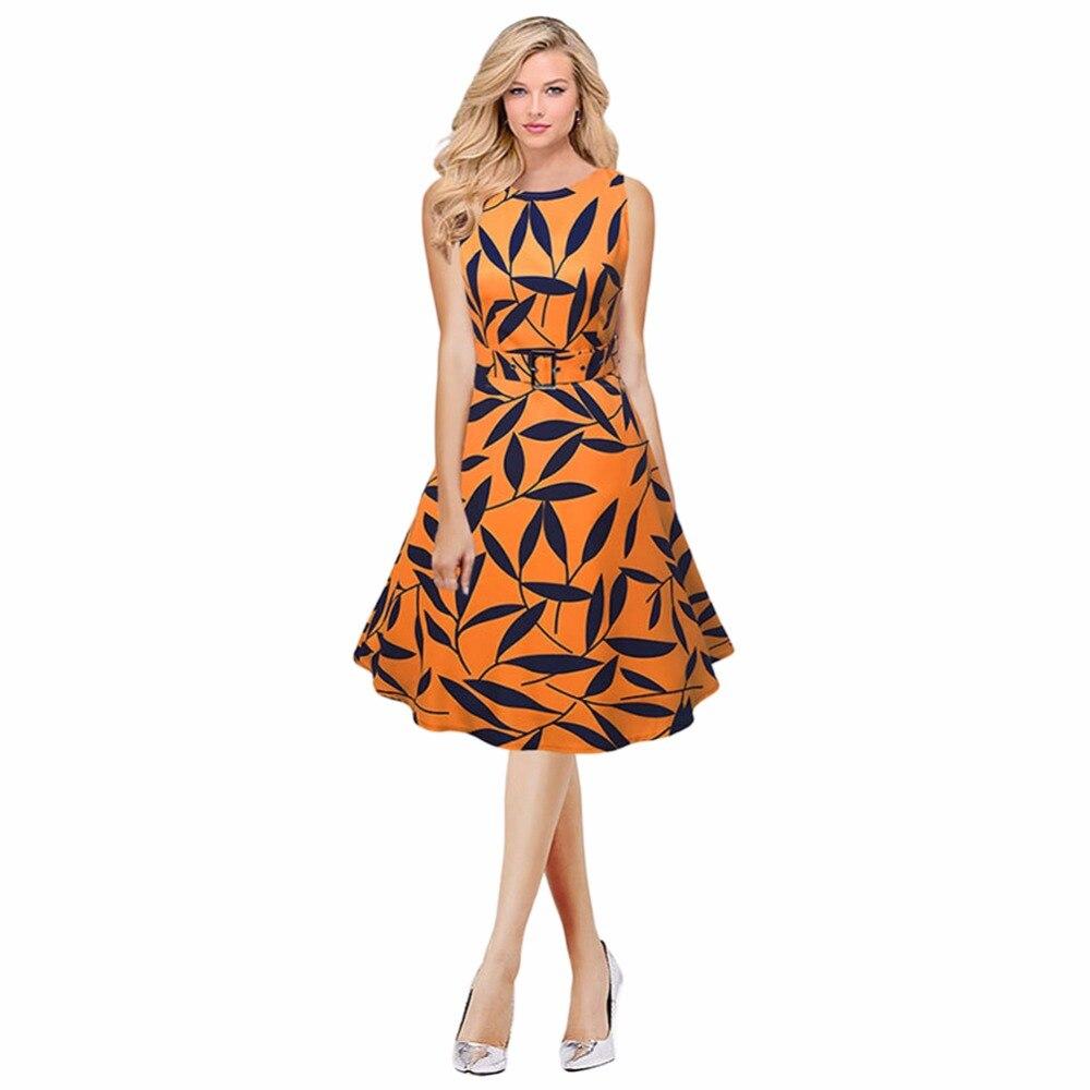 Black dress yellow sash - 2017 Women Leaf Print 50s 60s Sleeveless Retro Dress Vintage Rockabilly Party Swing Dress Black Yellow Elegant A Line Dress