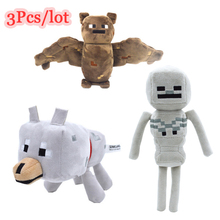 3Pcs/lot Minecraft Game Toys 18-24 cm Minecraft Creeper Wolf Skeleton Bat Plush Toys Soft Stuffed Toys For Kids Christmas Gifts(China)