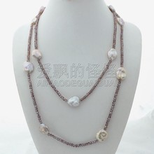 "N112402 46"" Purple Keshi Pearl Crystal Necklace(China)"