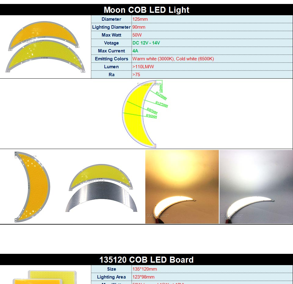 DC12V LED COB Bulb Light Emitting Diodes 2W-200W Round COB Strip White Red Blue Color 12V LED Lamp Chip for Auto Car Bulbs DIY (16)