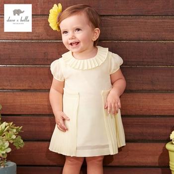 DB3407 dave bella ruched menina princesa vestido de verão do bebê bonito crianças vestido roupas vestido crianças trajes de aniversário amarelo