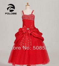 Clearing Stock Red Sweet Crystal Beading Tiered Pleats Flower Girl Dresses First Communion Dresses for Girl(China)