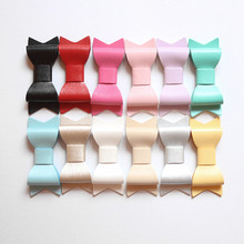 Hotsale PU Leather Bows Mini Size Hair Clip Small Bowknot Faux Shinning Hairpins 24pcs/lot Wholesale Girls Newborn Clips(China)