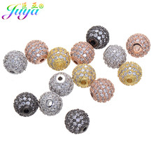 Wholesale 8mm 10mm 6pcs/lot Paved Rhinestone Metal Hole Ball Beads Accessories For Women Beads Bracelets Earrings DIY Making(China)