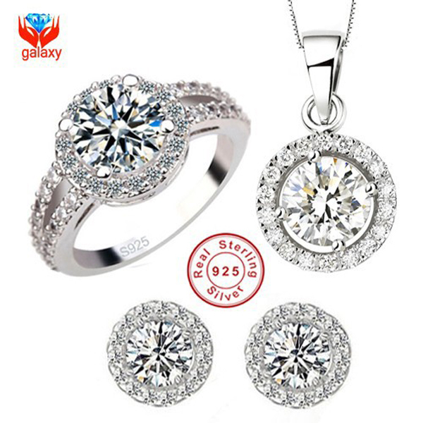 YHAMNI Brand 925 Sterling Silver Wedding Dress Jewelry Sets Luxury CZ Diamant Pendant Necklace Earrings Ring Set For Women YS013 ring necklace and earring set