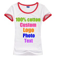 Slim Sexy Fitness Summer Women Custom Logo Photo Text T shirt O Neck Contrast Color Company Team Best Friends DIY Tops T-shirts(China)