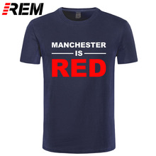 REM Summer Style United Kingdom Red Letter Printed T Shirts Men Cotton Manchester Top Tees Male T-Shirts Camisa Masculina