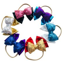 1PC Fashion Headwrap Hair Accessories Pleuche Sequins Hairband Children Pillow Nylon Hair Band kids Glitter Big Bowknot(China)
