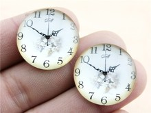 5pcs 25mm or 20mm Handmade Clock Pattern Glass Cabochon G-43
