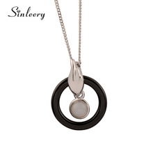 SINLEERY Unique Design White/Black Ceramic Round Cricle Opal Necklace &Pendants For Women Silver Color Chain Jewelry XL113 SSD