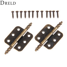 DRELD 2Pcs 70*35mm Antique Bronze Crown Head Hinge 6 Holes Jewelry Gift Box Decorative Hinge for Cabinet Furniture Accessories