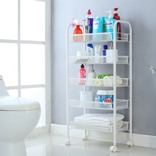 Langria 5-Tier Metal Mesh Rolling Cart Multifunctional Toy Storage Shelving Rack for Vegetable Kitchen Bathroom Washroom Laundry