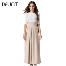 DFUNT Strap Solid Wide Leg Pants Trousers Loose Long Culottes Pants Women Europe Style Casual Jeans Pantalones Mujer