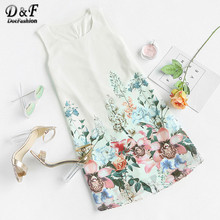 Dotfashion Summer Boho Beach Wear Short Dress Casual Loose Fashion Mini Dress Multicolor Sleeveless Floral Bohemian Shift Dress