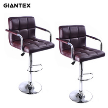 GIANTEX 2pcs PU Leather Modern Adjustable Bar Stool With Handrails Swivel Chair Bar Chair Commercial Furniture Bar Tool HW50133