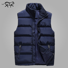Autumn Vest Men Casual Stand Collar Men's Sleeveless Jacket Fashion Cotton Padded Winter Waistcoats Outerwear Coats Large Size