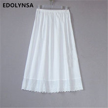 High Quality Women 100% Cotton White Solid Maxi Embroidery Half Slip With Lace Plus Size Long 55-80cm Sexy Dress Underskirt #K24(China)