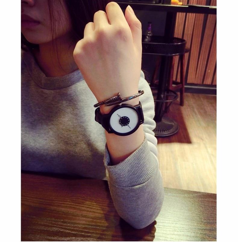 Hot fashion creative watches women men quartz-watch BGG brand unique dial design minimalist lovers' watch leather wristwatches 21
